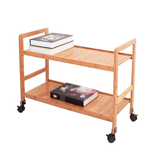 MHBGX Multifunction Portable Hand Trucks,Trolleyserving Trolley Cart Mobile Bamboo Wood with Brake Kitchen Moisture Proof 2 Tier Storage, Carrying Capacity 20 Kg, 4 Sizes,42 X 30 X 55 cm