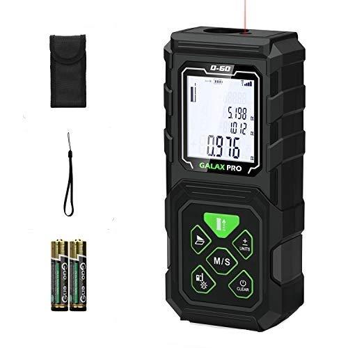 GALAX PRO Telémetro láser 60m, Medidor Láser, Electrónico Ángulo Sensores, LCD Retroiluminación, Medición de distancia, Área, Volumen, Batería Incluida, IP54, GPD60