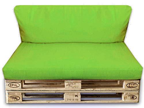 Palettenkissen Set-2er Set Sitzpolster 120x80x15cm+Rückenkissen 120x40x10cm–In&Outdoor Palettenpolster–Kissen Möbel Sofa Sitz Paletten Polster Auflage (2er Set ca.120x80x15cm x 120x40x10cm, Hellgrün)