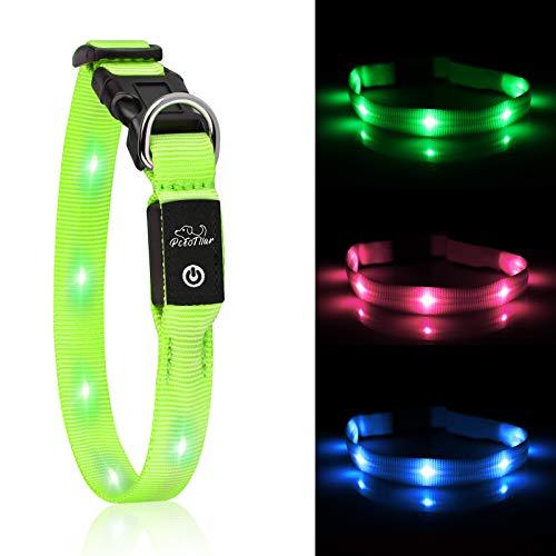 PcEoTllar LED Hundhalsband Leuchthalsband Klein Hund Leicht USB Wiederaufladbar Wasserdicht Einstellbar 1.5x38 cm Super Hell für die Nacht - Grün