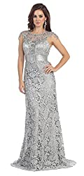 Silver Cap Sleeve Rhinestones Lace Dress #27182