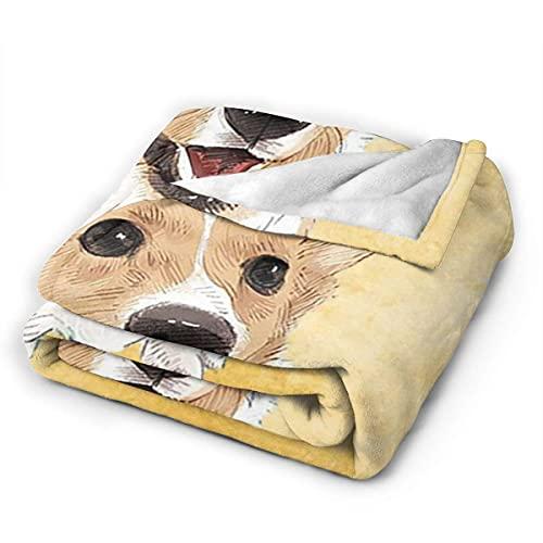 Manta, Manta de Microfibra Ultra Suave para Perro Pug Amarillo, Manta de Cama para sofá, otoño, Primavera, Invierno, Uso, Manta para Hombres, Mujeres