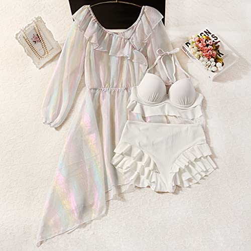 NMJKH Summer Bikini Fata Fan Colorato Streamer Filato Design Senso Leggermente trasparente che copre la pancia e il diradamento Costume da bagno diviso da donna (Color : White, Size : L code)