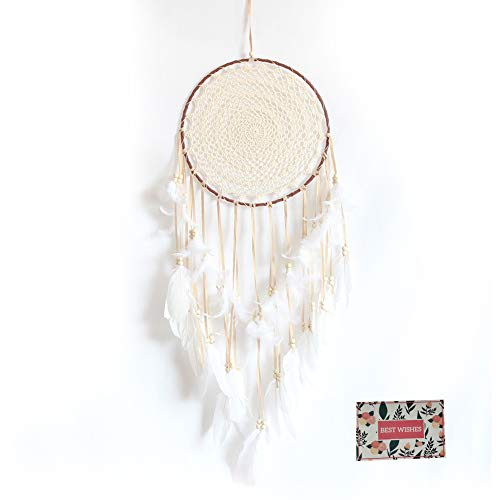 Malicosmile Large White Dream Catcher, Handmade Big Dream Catchers for Bedroom Wall Hanging Wedding...