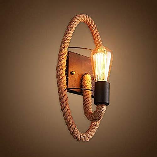 Luz de la lámpara de pared Barra creativa Sala de estar Lámpara de pared Lámpara de noche Lámpara de pared de cuerda de cáñamo, Decoración Dormitorio Escaleras Pasillo Hierro Lámpara de pared de cuerd