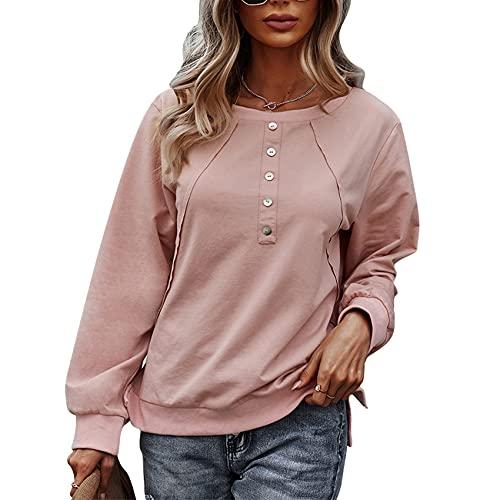 OtoñO E Invierno, Moda Informal para Mujer, Cuello Redondo, Color SóLido, SuéTer, BotóN, DecoracióN, Camiseta Suelta para Mujer