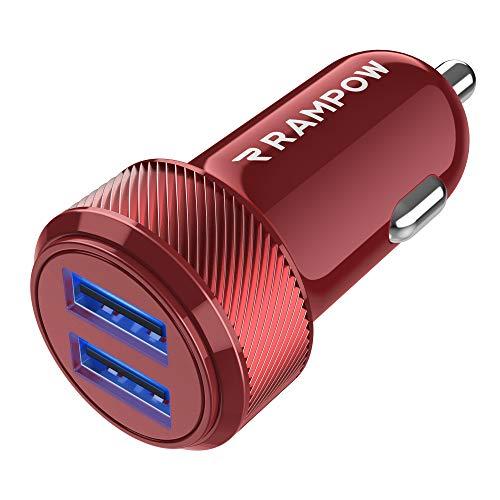 RAMPOW Caricabatterie Auto USB [ 24W 4.8A ] 2 Porte,Caricatore Auto USB, Caricabatteria Auto USB Universale Carica Batteria Compatibile con iPhoneX 8 7 6,iPad, Samsung S9 S8 S7, Huawei,Honor - Rosso