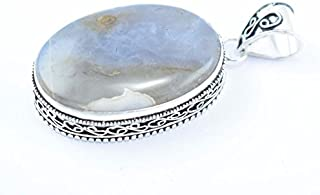 On Sale 1 Pc Silver Overlay Botswana Agate Cabochon Gemstone Pendant