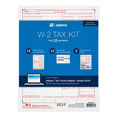 Adams W2 Forms 2019, 6 Part Tax Forms Kit, 12 Employee Kit of Laser/Inkjet Forms, 3 W3 Summary Forms, 12 Self Seal Envelopes, Tax Forms Helper Online (TXA12618)