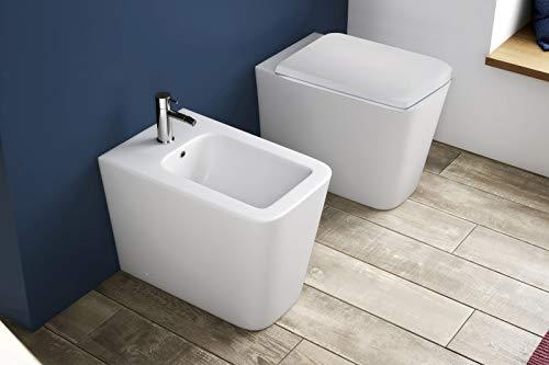 GT-LUX VASO WC SANITARI BAGNO IN CERAMICA FILO MURO SOSPESO | PAVIMENTO TERRA DESIGN CERAMICA TOILETTE GABINETTO (WC a pavimento MR8869A)