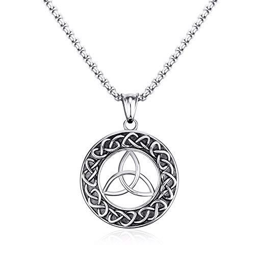 XINTON Herren Halskette Herren Celtics Trinitys Knoten Und Anhänger Halskette Für Herren Edelstahl Unisex Vintage Herrenschmuck
