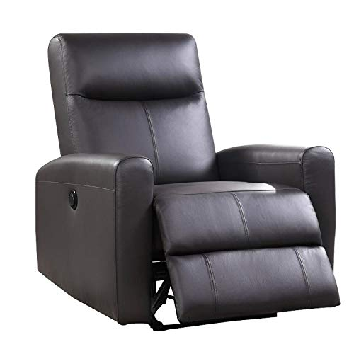 Unknown1 Leatherette Power Recliner with Tufted Back Brown Solid Modern Contemporary Metal Wood Antique
