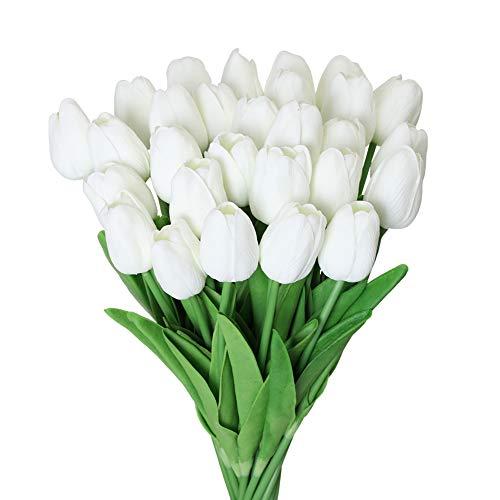 Kisflower 30Pcs Fiori Artificiali di Tulipani Tulipani Finti Bouquet Real Touch Flowers for Decor (Bianco)