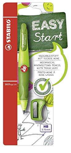 Ergonomischer Druck-Bleistift für Rechtshänder - STABILO EASYergo 3.15 in hellgrün/dunkelgrün - Einzelstift - inklusive 1 dicken Mine - Härtegrad HB & Spitzer