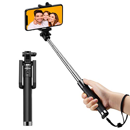 Bastone Selfie Bluetooth Mpow iSnap X Selfie Stick Monopiede Selfie Stick Espandibile con Bluetooth Remote Shutter Compatibile con iPhone /Android, Nero