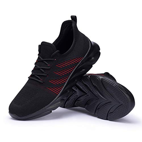 Men's Fashion Sneakers Walking Shoes Lightweight Breathable Athletic Blade Casual Sport Shoes Black