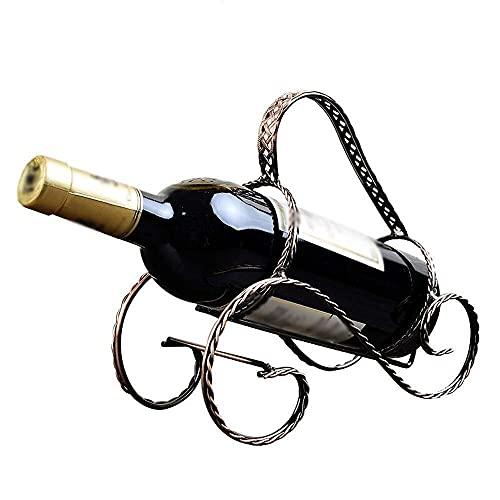 LSNLNN Estantes de Vino, Estante de Vino Europeo Retro Rattan Estilo Botellas de Vino Soporte de Exhibición de Estante, Encimera Independiente Gabinete de Vino de Plancha Adornos de Decoración para e