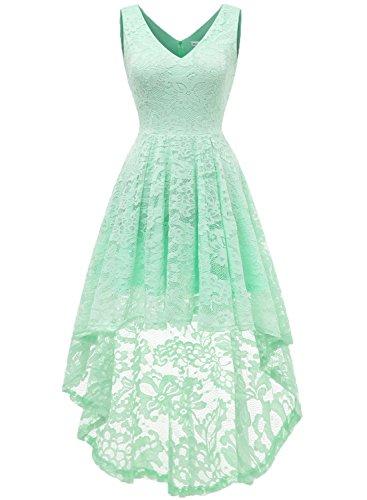 MuaDress 6666 Damen Kleid Ärmellose Cocktailkleider Knielang Abendkleider Elegant Spitzenkleid V-Ausschnitt Asymmetrisches Brautjungfernkleid Mintgrün XS