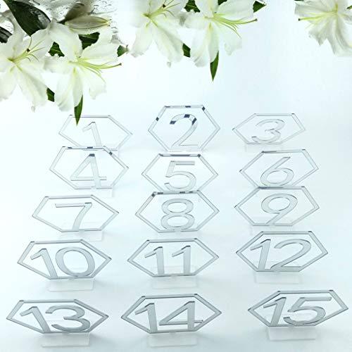 Guanweun 1-15 esagono tavolo Segni Numeri Argento Acrilico Specchio Decorazione Festa di Matrimonio Sede Esagonale