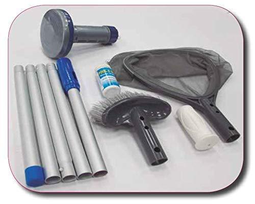Kit spezielle Reinigungsutensilien für Spa und Whirlpool. Bestehend aus: Bürste, Blattsammler, Spender, Analysestreifen und 5 Abschnitten à 1,2 m (Clip)
