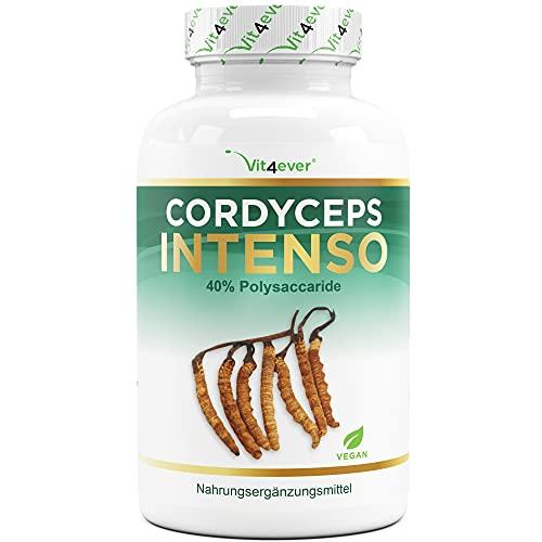 Cordyceps Pilz - 180 Kapseln mit 650 mg echtem CS-4 Extrakt - 40% bioaktive Polysaccharide - Laborgeprüft - Hochdosiert - Raupenpilz - Vegan