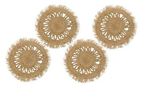 4 runde Platzsets geflochten, Platzdeckchen aus Jutestroh, Tischset 38 cm, Untersetzer Teller in braun