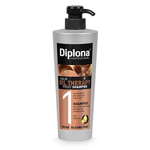 DIPLONA Shampoo für trockenes & lockiges Haar - YOUR OIL THERAPY PROFI Shampoo mit Arganöl für Frauen - veganes Haarshampoo ohne Silikone & Parabene - Damen Haarpflege 600 ml
