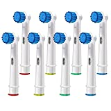 Replacement Brush Heads Compatible with Oral B- Sensitive Gum Care Electric Toothbrush Heads - Pk of 8 Generic Sensitive Brushes- Fits Oral-b Braun 7000, Pro 1000, 9600, 500, 3000, 8000 Clean