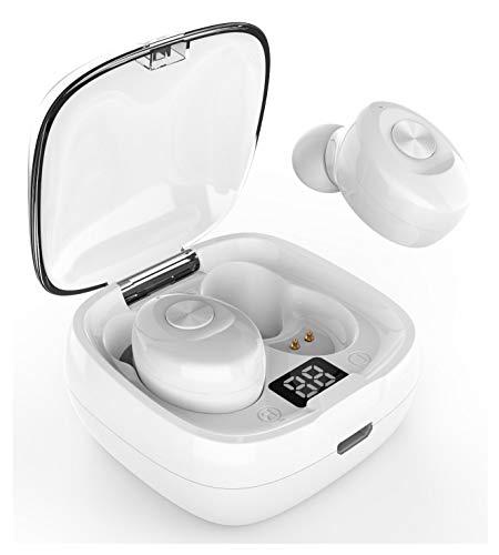 Auriculares Inalambricos Bluetooth 5.0+EDR con Pantalla Digital y Micro incorporados BlockSound Mini Twins Estereo con Caja de Carga IPX5 TWS XG-08 Apto para Manos Libres Blanco Brillo