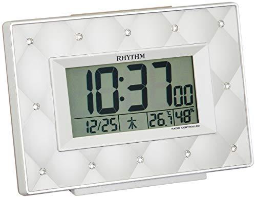 リズム(RHYTHM) 目覚まし時計 電波 デジタル フィットウェーブアビスコ クリスタル 飾り ベージュ パール RHYTHM 8RZ167SR38 9.9×13.5×5.0cm