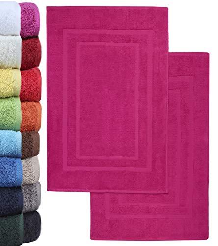 NatureMark 2er Pack Badvorleger Badematte | Premium Qualität | 100% Baumwolle | 50 x 80 cm | Duschvorleger Duschmatte Doppelpack | Farbe: Pink