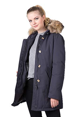 MATOGLA Damen Arctic Parka Style 8208 : Das Original 2019. Warme Winterjacke mit Echtfell Kapuze als Kurzmantel (S, Marineblau)