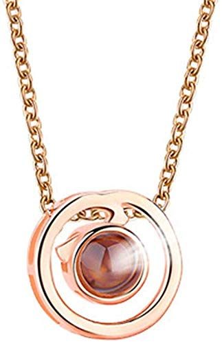 Zaaqio Collar 100 Idiomas Diferentes Collares Personalizados para Mujer Te Amo Collar Cadena de proyección 925