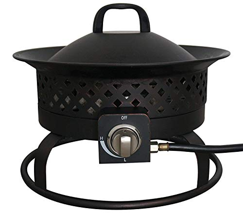 Bond Manufacturing 67805A Portable 54,000 BTU Aurora Bowl for Camping, Backyard, Tailgating and Patio Mobile Steel Propane Gas Fire Pit Outdoor Firebowl, 18.5', Black