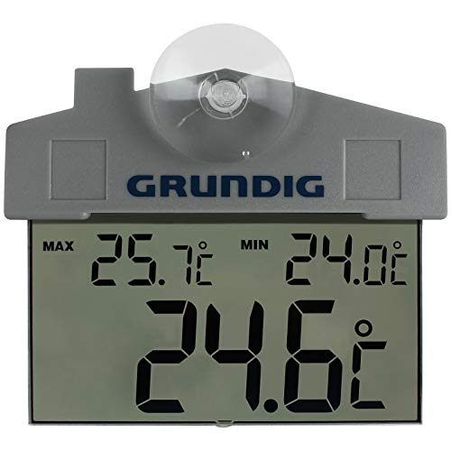 TW24 Grundig Aussenthermometer mit Saugnapf Fensterthermometer Digitale Wetterstation Fenster Thermometer