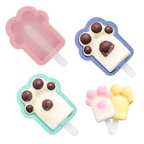 Housolution 3 Eisformen, Weicher Silikon BPA Frei Katze Klaue Eislutscher Stieleisformer Wiederverwendbare DIY Popsicle Formen Eiscreme Form in Lebensmittelqualität - Rosa + Blau + Grün