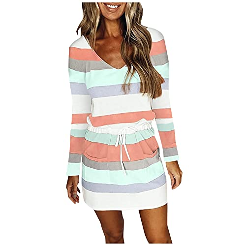 Mini-jurk voor dames, lange mouwen, bedrukt, gestreept, V-hals, trekkoord, tuniek, jurk, hoge taille, A-lijn, elegante feestjurk, avondjurk, partyjurk, zomerjurk, etui-jurk