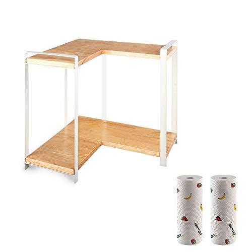 MNSSRN Double-Layer Aufsatz- Spice Rack, Rack-Massivholz-Raumspar Corner Kitchen Supplies große Kapazitäts-Storage Rack,A
