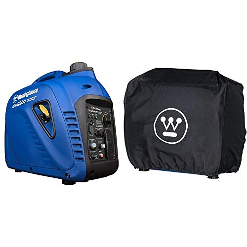 Westinghouse iGen2200 Portable Inverter Generator 1800 Rated & 2200 Peak Watts, Gas Powered, CARB Compliant & Inverter Generator Cover - Weather Resistant - Fits iGen2200, iGen2500, iPro2500