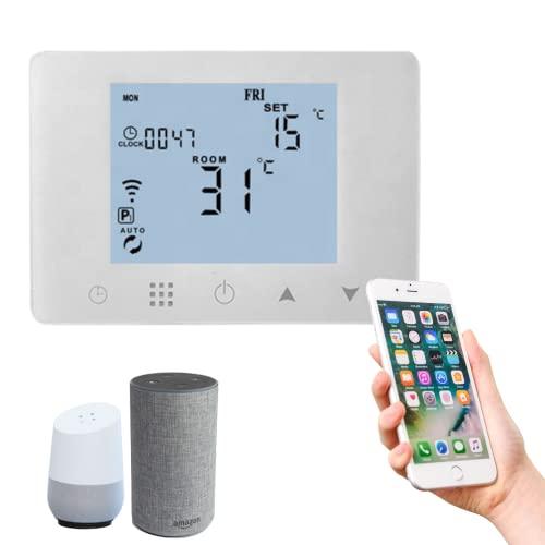 PATABIT Termostato Ambiente Caldaia Wifi Alexa   Cronotermostato Smart Intelligente Touch Screen Da Parete Monta Su Cassetta Incasso 503 Alimentazione 220V Per Riscaldamento Domestico Con Timer