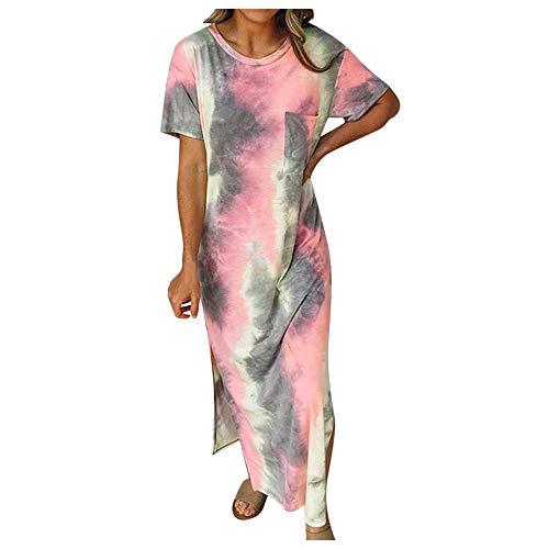 TWIFER Damen Tie Dye Sommerkleider Lang Strandkleid Kurzarm Rundhalsausschnitt Freizeitkleidung Casual Loose Maxi Kleider Pyjama Kleid mit Taschen