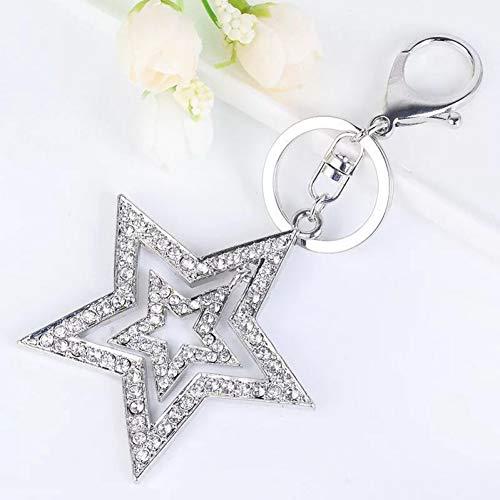 GMTEXTILES Hohle fünfzackige Sternschlüsselkette Kristallsterne Tasche Auto Ornamente Anhänger Metallsterne Schlüsselanhänger Schlüsselring