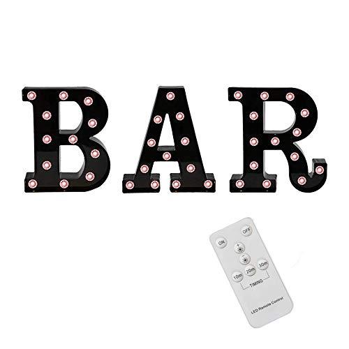 Gesh Letras de carpa negras con luces, letras iluminadas, carpa de control remoto, lámpara de mesa para bar, pub, decoración de fiesta