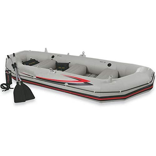 Aufblasbare Kajaks Berufsseemann-Antrieb-Boot, das aufblasbares Boots-Rettungsboot-Fischen-Vierpersonenboot im Freien Kayaking ist für Anfänger und Angler ( Color : Gray , Size : 328x145x48cm )