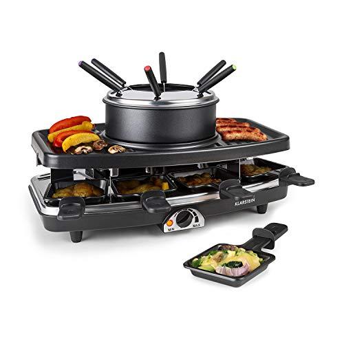 Klarstein Entrecôte - Raclette, Fondue, Grill de table électrique, 1100 W, Pour 8 personnes, 8 poêlons, Grill amovible avec appareil à fondue et plaque en pierre, noir