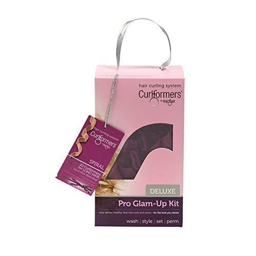 Curlformers Deluxe Glam-Up - Lockenstyling-Set für Spirallocken - für mittellanges Haar bis zu einer Länge von 35 cm - ohne Hitze - mit 20 Lockenwicklern und 1 Stylinghaken