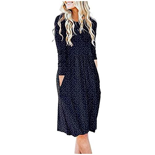 Kleider Damen Langarm Knielang A Linien Blusenkleid Casual Rundhals Strandkleid Plisseekleid Tailliertes Hemdkleid Mit Taschen