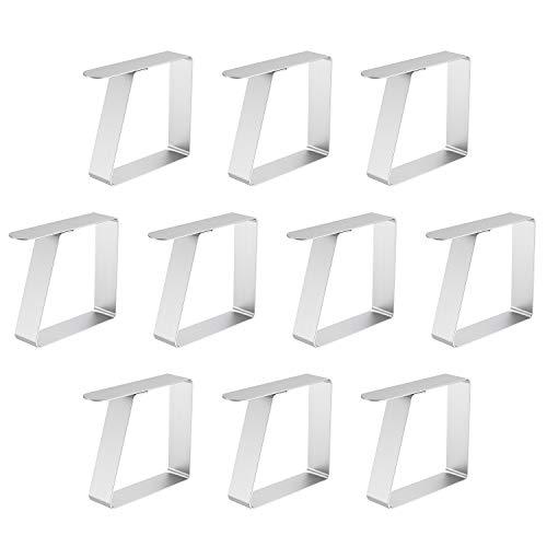 Zaleonline 10 STK Tischdeckenklammer Edelstahl Tischtuchklammern Garten Tischtuchhalter Silber Tischdecke Clips Tischklammern für Dicke 3 cm