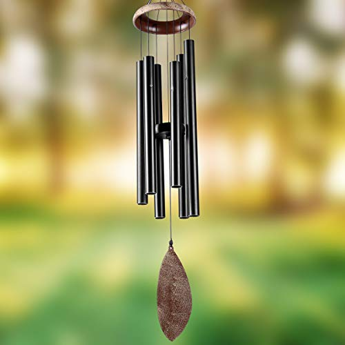 "Epartswide Wind Chimes Outdoor Deep Tone 36"" Memorial Wind Chime with 6 Tuned Tubes Soothing Melodic Tones Sympathy Gifts for Mom Patio Garden and Outdoor Home Decor (Black)"