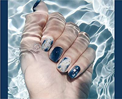 Cathercing 24 Pcs Design False Nails Smooth Medium Beauty Nails With Pattern Short Fake Gel Nails Tips Art Clip on Nail for Women Girls Gift Prom Party Halloween(sea stripes)
